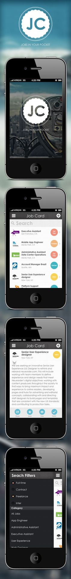 Job Cards - iPhone App by Asgar khan, via Behance