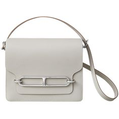 Hermès Roulis 23 Bag (10,035 CAD) ❤ liked on Polyvore featuring bags, handbags, shoulder bags, flat purse, shoulder bag purse, shoulder handbags, white handbags and white purse