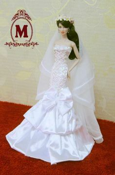 "Napatsaa Gown Wedding Dress Outfit Fashion Royalty FR2 Silkstone Barbie 12"" Doll"
