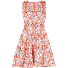 Izabel London Indian Style Skater Dress (55 CAD) ❤ liked on Polyvore featuring dresses, short dresses, coral, women, sleeveless dress, sleeveless skater dress, skater dress, red sleeveless dress and short fit and flare dress