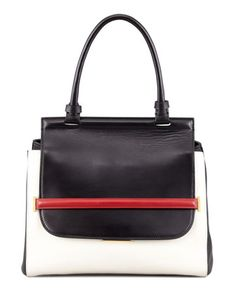 Small Colorblock Top-Handle Satchel, Black/White/Red by THE ROW at Neiman Marcus.