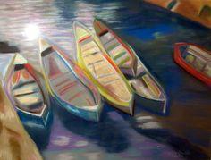 Five Boats  Pastel  Artist Joseph Chubb