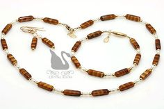 Brown Czech Freshwater Pearl Beaded Necklace Set 3-pc (JS101) by Crystal Allure Beaded Jewelry