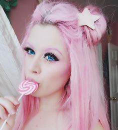 I had an audition for a commercial today so I'm very extra right now Kelly Eden, Valentines Anime, Valentines Balloons, Kawaii Hairstyles, Cute Hairstyles, Japan Fashion, Kawaii Fashion, Pink Peach Hair, Pastel Hair