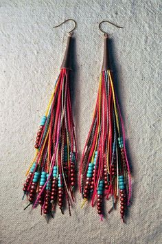 Fringe Earrings Bright Multi by AMiRA Jewelry. I have these in a pink/coral color scheme. They are so cute and funky!Feather Fringe Earrings Bright Multi by AMiRA Jewelry. I have these in a pink/coral color scheme. They are so cute and funky! Leather Jewelry, Boho Jewelry, Jewelry Crafts, Beaded Jewelry, Handmade Jewelry, Jewelry Design, Jewellery, Beaded Tassel Earrings, Fringe Earrings