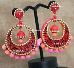 Big Pink paper earrings on www.facebook.com/hasthakala2014