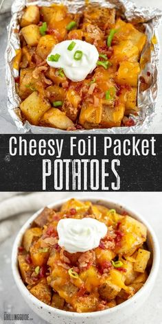 These cheesy foil packet potatoes from the Grilling Guide are an easy side dish for your next family dinner at home or at the campsite! Simpleingredients that are quick tothrow together or prepare ahead of time. #cheesy #foilpacket #potatoes #easy #sidedish #bacon #camping Healthy Vegetable Recipes, Vegetable Side Dishes, Side Dishes Easy, Side Dish Recipes, Pellet Grill Recipes, Grilling Recipes, Camping Recipes, Foil Packet Meals, Foil Packets
