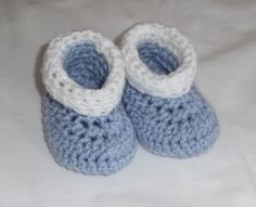 Roll Tops Crochet Baby Booties - free pattern! #crochet