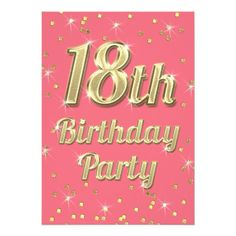 440 best 18th birthday party invitations images on pinterest 18th 18th birthday gold bling typography confetti pink card stopboris Image collections