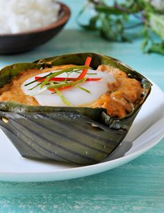 Don't you love it when a seemingly complex dish turns out to be fairly simple? That's one of the reasons I love hor mok, the Thai curry fish custa Fish Recipes, Seafood Recipes, Asian Recipes, Great Recipes, Curry Dishes, Thai Dishes, Tamales, Thai Cooking, Cooking Recipes