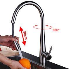 Modern Keukenkranen Met uitneembare spray Geborsteld Een Hole