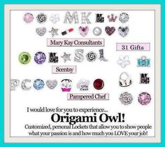 Origami Owl Charm ideas for Direct Sales companies. Promote your business while wearing a unique Origami Owl locket!  http://www.facebook.com/OrigamiOwlspurlockets