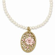 Gold-tone Simulated Pearl Porcelain Flower Crystal W/ 3in Ext. Necklace