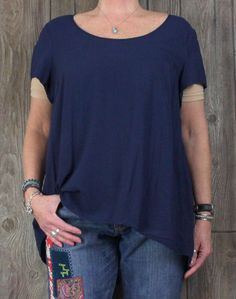 Nice Torrid 2 1x 2x size Blouse Blue Open Back Embroidered Tunic Top Career Casual