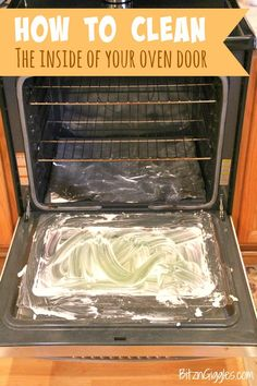 How to Clean the Inside of Your Oven Door - Wipe away years of built on grime with a natural , two-ingredient solution. Check out these great tips!