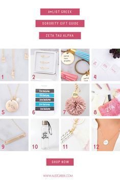 The perfect Zeta Tau Alpha Gift Guide from www.alistgreek.com! Shop all your favorite custom designed and handcrafted ZTA accessories! Hair ties, high-quality jewelry, water bottles, cosmetic bags, keychains and more! #biddaygifts #sororitybidday #jewelry #accessories #giftguide #greekletters #sororitygifts #keychains #personalized #custom #zetataualpha #zta #ztagifts #zeta