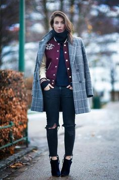 had never thought of combining a varsity jacket and a big coat