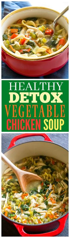 Healthy Vegetable Chicken Soup - this soup is FULL of veggies and great to detox when you need to eat healthy!Healthy Vegetable Chicken Soup - this soup is FULL of veggies and great to detox when you need to eat healthy!the-girl-who-ate-...
