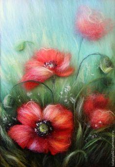 Купить Красный мак. Картина из шерсти. - живопись шерстью, шерстяная акварель, маки, полевые цветы