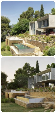 Four concrete boxes make up this holiday home by Paris architect Pascal Grasso, which nestles into a verdant hillside on the southern coast of France. #piscina #desnivel