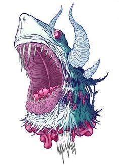 Illustration by Jordan Debney aka Eye Rupture Illustration Vector, Vector Art, Illustrations, Shark Illustration, Street Art, Arte Horror, Wow Art, Graphic Design Inspiration, Doodle Art