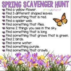 Scavenger hunts are great activities. Here is an idea for a spring scavenger hun., , Scavenger hunts are great activities. Here is an idea for a spring scavenger hunt, by clicking on the link, you can see tons of other themed hunts! Spring Activities, Toddler Activities, Learning Activities, Preschool Activities, Outdoor Activities, Family Activities, Teambuilding Activities, Camping Activities, Party Activities