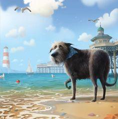 Вчера я нашла информацию о веселой и жизнерадостной собаке Тоби, которого создал британский художник Стивен Хансон в своих илюстрациях. Этот пес — неиссякамый заряд позитива, поэтому я решила поделиться с вами его «фотографиями». Вдруг это очаровательное создание вдохновит кого-то из вас на создание шедевра? Тоби, как и все собаки, очень любит вкусно покушать, поиграть с хозяином, попрыгать по снегу и, конечно же, пошалить и пошкодничать...