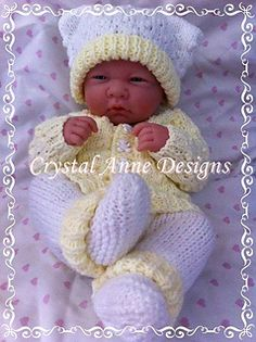 "Popcorn Stitch, 4 piece Baby Set. Consists of booties, hat, cardie and pants. to fit a 14"" reborn or premature."