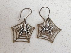 Spiders in a Web Earrings by lindasnest on Etsy, $7.00