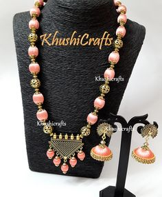 Peach shaded Silk thread Jewelry with designer Pendant