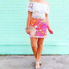 Lonestar State of Southern. Lilly Pulitzer skirt, off shoulder top.
