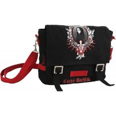 Black canvas bag by Longtime Gothic, with Carpe Noctem print. Designed like a small British military bag, with belted flap closure and red webbing details.