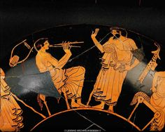 Music lesson, a pupil learns to play the aulos. Red-figured cup, Attic, early 5th BCE Terracotta, height: 13.5 cm, diam.: 33.2 cm One of three views of 10-03-02/3 and 5. Inv. IV 3698  Kunsthistorisches Museum, Antikensammlung, Vienna, Austria