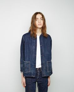 unisex look for mariners, etc is great - gives a worker feel. want them in double denim again like this cut-off look 70s Outfits, Cool Outfits, Fashion Outfits, Elegantes Business Outfit, Unisex Looks, Mode Jeans, Double Denim, Denim Trends, Denim Outfit