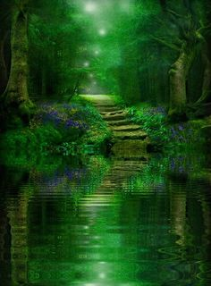 Stairs:  Stone steps from green water. - Like this idea - surreal steps into mysterious waters