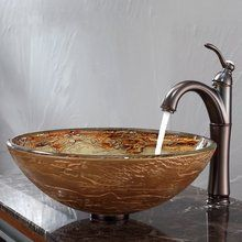 "View the Kraus C-GV-651-12mm-1005 16-1/2"" Ares Glass Vessel Bathroom Sink with Vessel Faucet and Pop-Up Drain at Build.com."