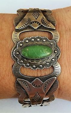 Fred Harvey Wide NAVAJO GREEN TURQUOISE STAMPED STERLING Silver CUFF BRACELET