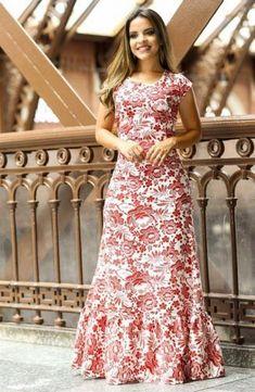 91fd5f271 Vestido estampado longo bonito Vestido Longuete