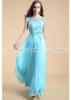 Beuty Blue Appliques Chiffon Prom Dress Abiballkleid Ballkleid 2014 New Arrival