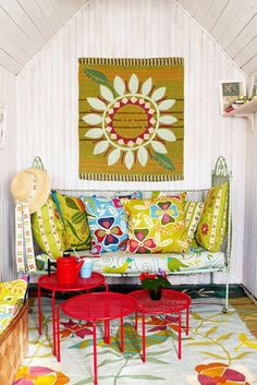My Bohemian Home ~ Kid-Friendly Spaces   Such a wonderfully cheery space.
