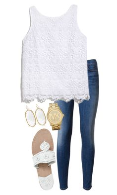 Idk I'm bored by neanariley on Polyvore featuring polyvore, moda, style, Lilly Pulitzer, Hudson, Jack Rogers, Michael Kors and Kendra Scott