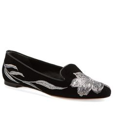 Alexander McQueen Tulip Embroidered Black Suede Alexander McQueen Tulip Black Embroidered Suede Smoking Flats with Silver Embroidery. US 10/IT 40.  NWT and original box and dust covers. Alexander McQueen Shoes Flats & Loafers