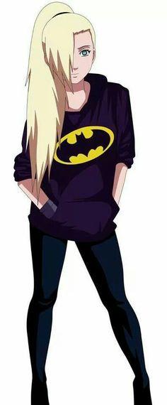 Ino Yamanaka in a Batman jacket