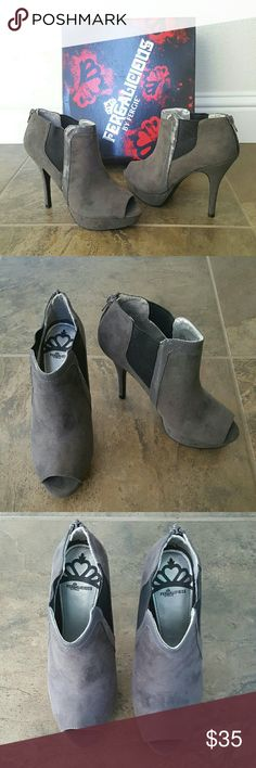 """Fergalicious Eliza Bootie New in box. Never worn. Super sexy peep-toe bootie in grey micro fabric. Back zipper. Patent leather trim and elastic sides for stretch. 4-1/2"""" heel with 1"""" platform Fergalicious  Shoes Ankle Boots & Booties"""