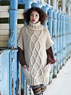 Knit a cable and moss-stitch tunic :: free knitting patterns :: Craft ideas :: UK knitting patterns Free Aran Knitting Patterns, Jumper Knitting Pattern, Knit Patterns, Knitting Pullover, Rowan Knitting, Aran Jumper, Crochet Cable, Moss Stitch, Knit Fashion