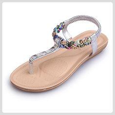 Hunpta Frauen flache Schuhe Perlen Böhmen Freizeit Sandalen Peep-Toe Flip Flops Schuhe (37, Silber) - Sandalen für frauen (*Partner-Link)