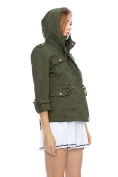 Sue&Caleb womens Utility Militray Anorak Drawtring Parka Hoodie Jackets with Pocket at Amazon Women's Coats Shop