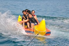 Go Bananas in an unforgettable Banana Boat Ride in with your pals! Why not save it for a weekend retreat? Go Bananas, Ras Al Khaimah, Banana Boat, Activities, Outdoor Decor, Beautiful, Banana Split, Banana Boat Recipes