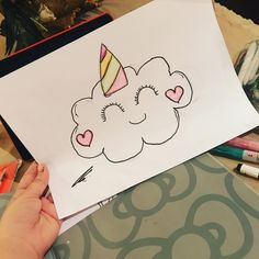 Unicorn cloud drawing for beginners