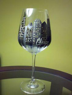 Hand-Painted Wine Glass: Chicago Skyline
